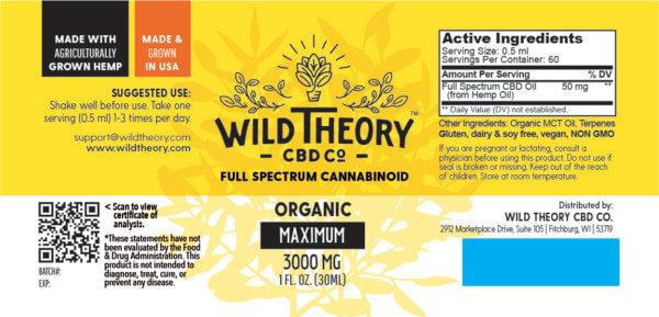 Wild Theory Full Spectrum CBD Oil 3000mg Maximum 1oz