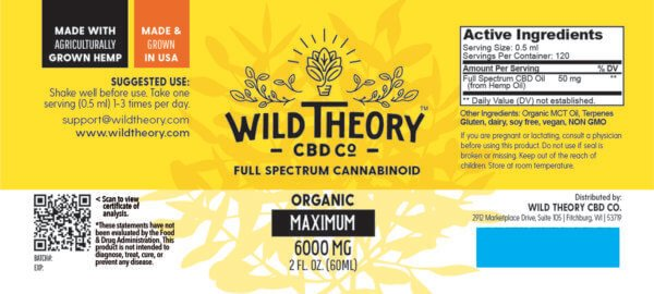 Wild Theory Full Spectrum CBD Oil 6000mg Maximum 2oz